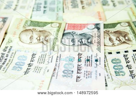 Close-up Of Indian Rupee's Bank Notes For Business And Finance Background
