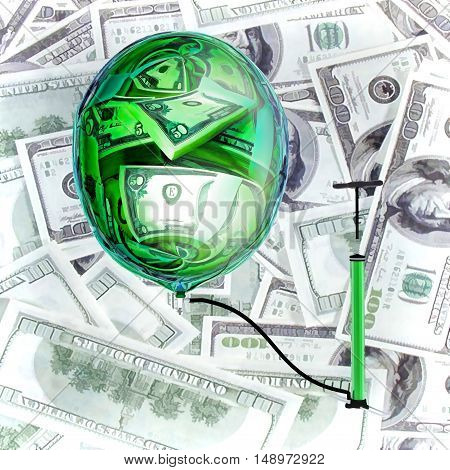 Sphere and pump on a background of money. 3D illustration