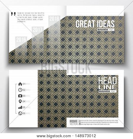 Set of annual report business templates for brochure, magazine, flyer or booklet. Islamic gold pattern with overlapping geometric square shapes forming abstract ornament. Vector golden texture.