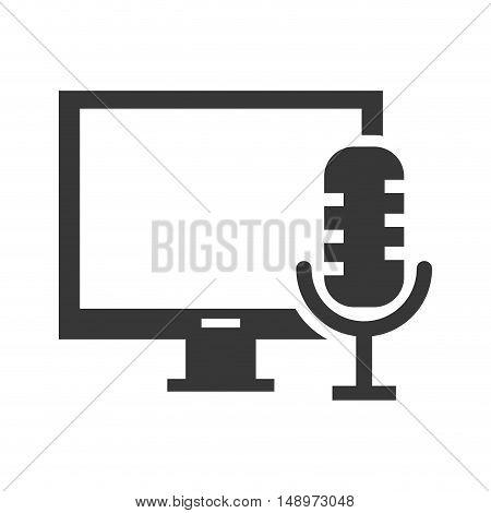 screen monitor computer device with retro microphone icon silhouette. vector illustration
