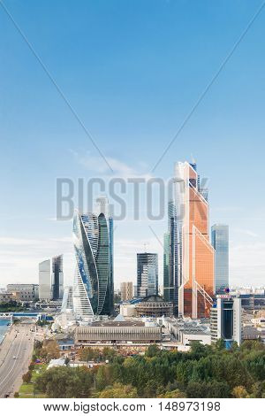 MOSCOW, RUSSIA - September 10, 2016. Panorama view of Moscow City buildings modern business office center on Moscow-river bank. Place for text.