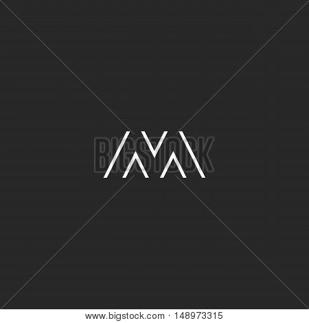 Capital Letter M Logo Simple Thin Line Initial Monogram, Black And White Hipster Stylish Branding Em