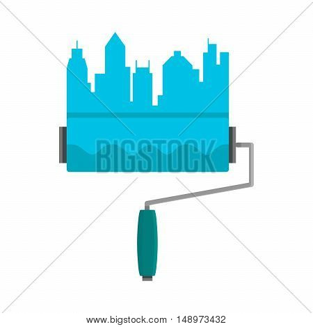 Bright stripe painted on a wall paint roller. City skyline. Logo concept. Blue flat vector cartoon illustration isolated on white background