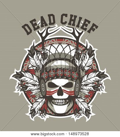 Stock Vector Indian skull chief badge on gray background