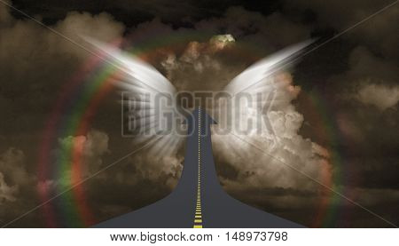 Highway to sky in arrow shape, Angel's wings  3D Render