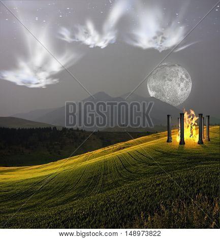 Ghostlike faces hover above fantastic landscape  3D Render