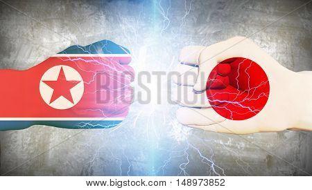 Japan vs North Korea  3D Render