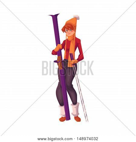 Adult red-haired beautiful woman standing with ski, cartoon vector illustration isolated on white background. Full height portrait of pretty female skier, fun winter activity, outdoor leisure time