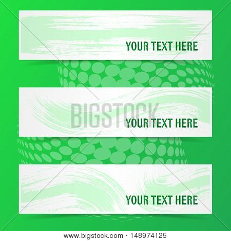 Green vector banners with brush strokes and shadows