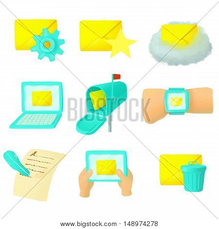 Email icons set in cartoon style. Mail and envelope elements set collection vector illustration