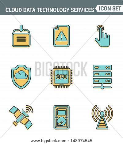 Icons line set premium quality of cloud data technology services global connection. Modern pictogram collection flat design style. Isolated white background