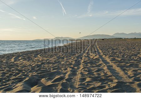 Beautiful sandy beach and soft blue sky above