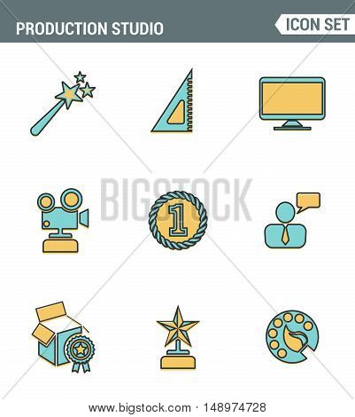 Icons line set premium quality of content production studio solution projecting. Modern pictogram collection flat design style. Isolated white background
