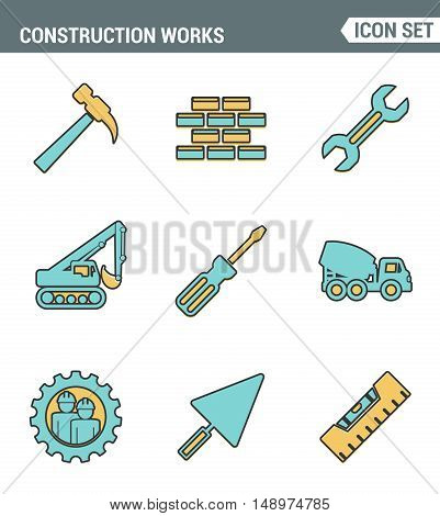 Icons line set premium quality of construction works on site and building tools. Modern pictogram collection flat design style. Isolated white background.