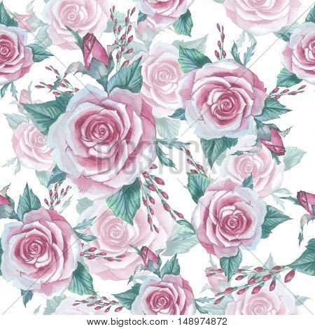 Wildflower rose flower pattern in a watercolor style isolated. Full name of the plant: rose platyrhodon rosa. Aquarelle flower could be used for background texture pattern frame or border.