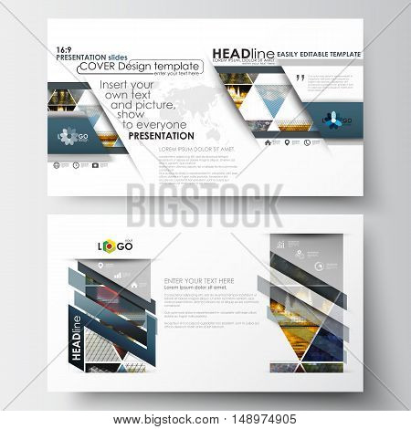 Business templates in HD size for presentation slides. Easy editable abstract layouts in flat design. Abstract multicolored background of nature landscapes, geometric triangular style, vector illustration