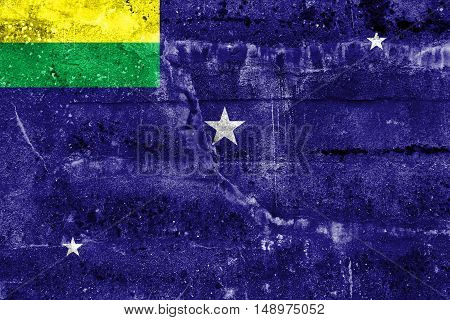 Flag Of Lages, Santa Catarina State, Brazil, Painted On Dirty Wall