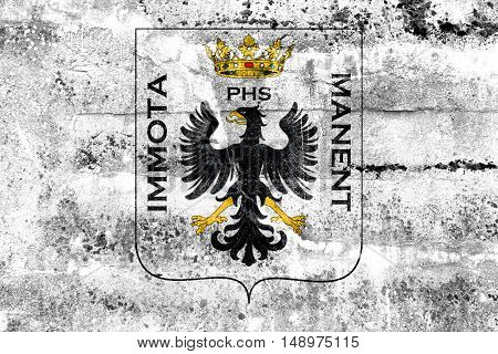 Flag Of L'aquila With Coat Of Arms, Italy, Painted On Dirty Wall