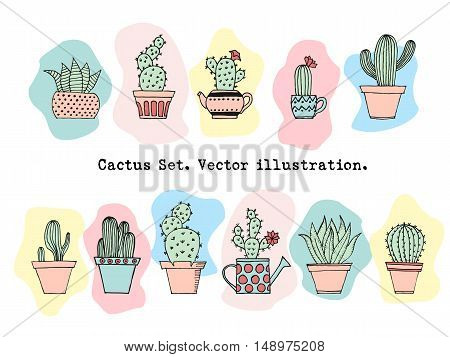 Colorful Cactus Set In Simple Hand Drawn Style. Cute Cartoon Potted Cacti Background. Decorative Hou