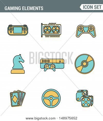 Icons line set premium quality of classic game objects mobile gaming elements. Modern pictogram collection flat design style symbol . Isolated white background