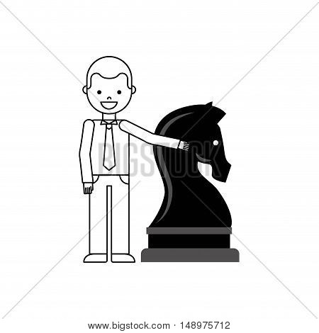 chess horse strategy business vector illustration design