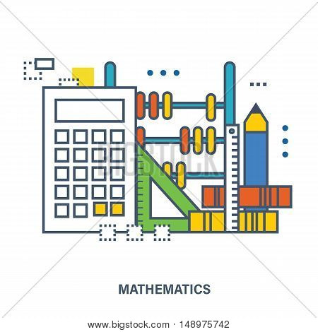 Concept of natural science of mathematics - the equipment in mathematical science, accurate calculations. Flat vector illustration.