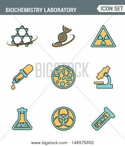 Icons line set premium quality of biochemistry research biology laboratory experiment. Modern pictogram collection flat design style symbol . Isolated white background