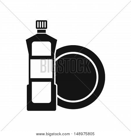 Dishwashing liquid detergent and dish icon in simple style on a white background vector illustration