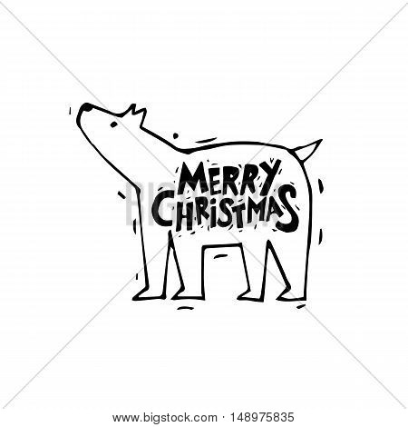 Merry Christmas and Happy New Year. Polar bear. Xmas Poster, banner, greeting card. Lettering, calligraphy. Hand-drawn, lino-cut. Flat design vector illustration.