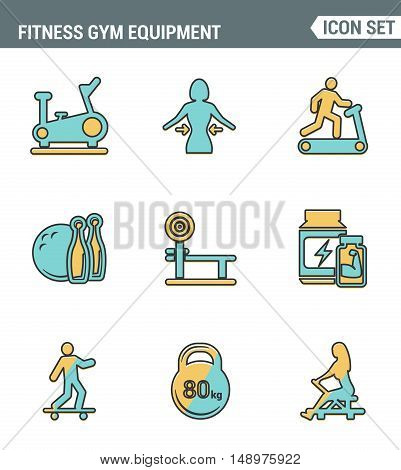 Icons line set premium quality of fitness gym equipment sports recreation activity. Modern pictogram collection flat design style symbol . Isolated white background