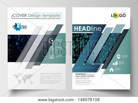Business templates for brochure, magazine, flyer, booklet or annual report. Cover design template, easy editable blank, abstract flat layout in A4 size. Virtual reality, color code streams glowing on screen, abstract technology background with symbols.