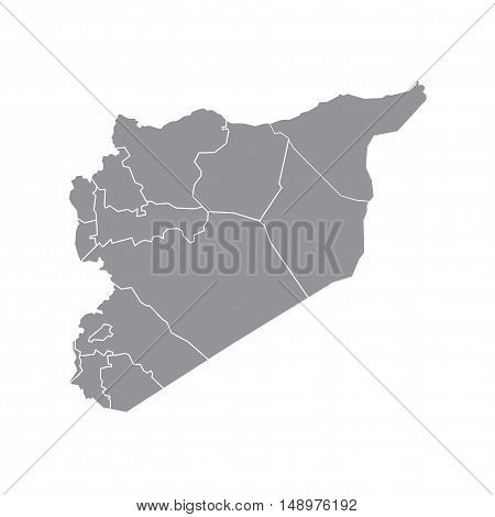 Vector Syria State Boundaries Map Mid Grey