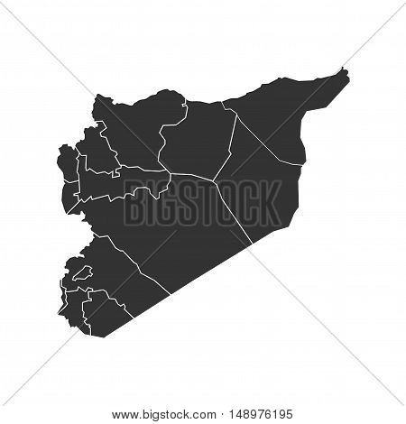 Vector Syria State Boundaries Map Dark Grey