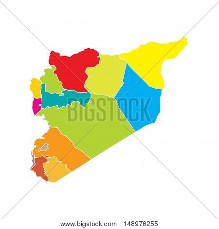Vector Syria State Boundaries Map Bright Colours