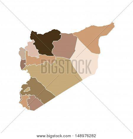 Vector Syria State Boundaries Map Flesh Tones