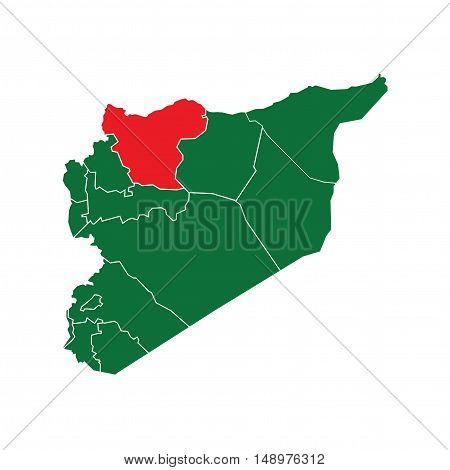Vector Syria State Boundaries Map Green & Red
