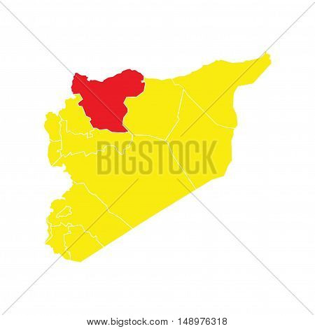Vector Syria State Boundaries Map Yellow & Red