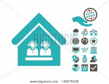 Call Center Office pictograph with bonus elements. Vector illustration style is flat iconic bicolor symbols grey and cyan colors white background.