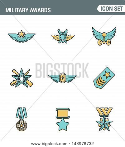 Icons line set premium quality military awards star medal winner prize victorysymbol. Modern pictogram collection flat design style symbol . Isolated white background