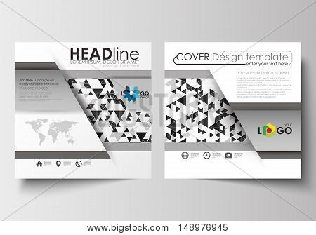 Business templates for square design brochure, magazine, flyer, booklet or annual report. Leaflet cover, abstract flat layout, easy editable blank. Abstract triangle design background, modern gray color polygonal vector.