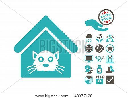 Cat House icon with bonus pictogram. Vector illustration style is flat iconic bicolor symbols grey and cyan colors white background.