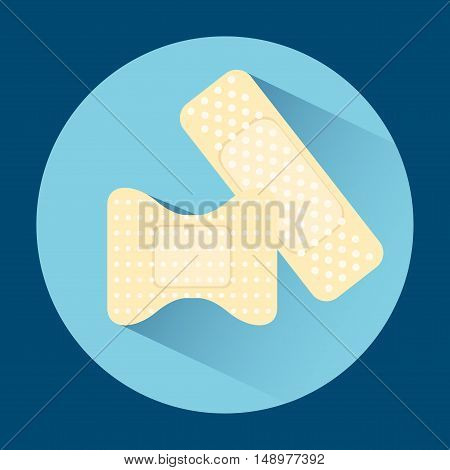 Two patch icon. Isolated in a flat design with long shadow. Vector illustration.