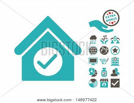Check Building pictograph with bonus pictogram. Vector illustration style is flat iconic bicolor symbols grey and cyan colors white background.