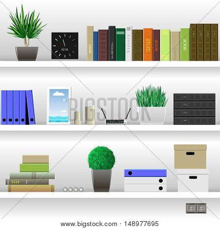 White office shelves or living room with books and office documents, literature, and household items. Vector graphics