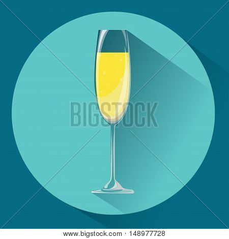 Wide glass of champagne. Icon. Volume on a blue background with long shadow.