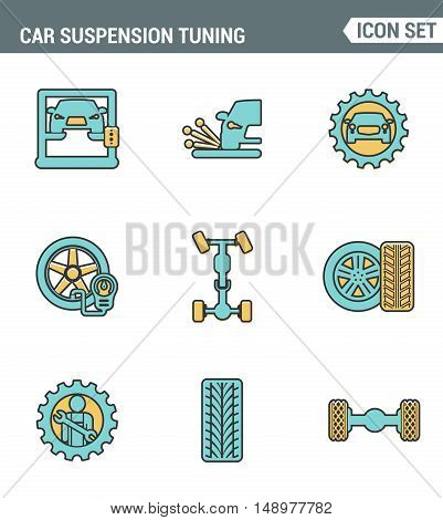 Icons line set premium quality of car suspension tuning transport mechanic garage repair. Modern pictogram collection flat design style symbol . Isolated white background