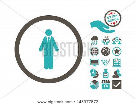 Clerk pictograph with bonus images. Vector illustration style is flat iconic bicolor symbols grey and cyan colors white background.