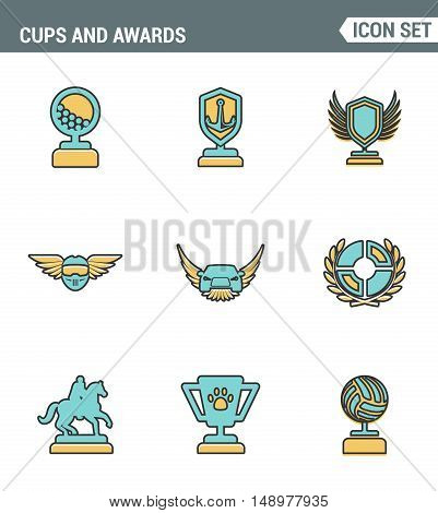 Icons line set premium quality of cups and awards prize victory award champ trophy. Modern pictogram collection flat design style symbol . Isolated white background