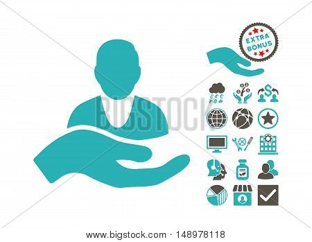 Client Care Hand pictograph with bonus images. Vector illustration style is flat iconic bicolor symbols grey and cyan colors white background.