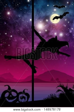 Black vector Halloween style silhouette of female pole dancer. performing pole moves in front of river and stars. Pole dancer in front of space background with Halloween elements.